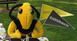 buzz mascot with flags