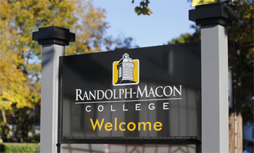 Randolph-Macon College Welcome sign