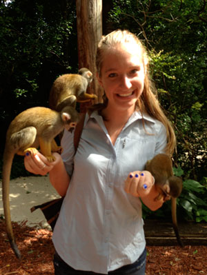 Neuroscience student with monkeys