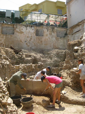 An archaeological excavation