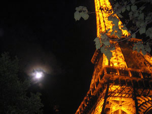 The Eiffel Tower, lit up at night.
