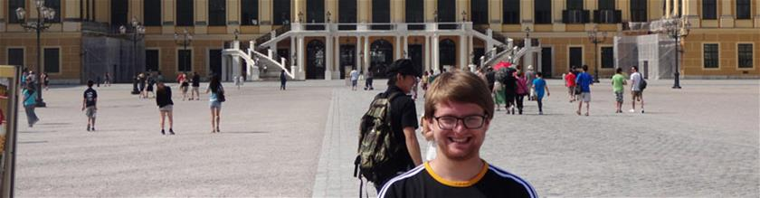 Student smiling, abroad in Germany
