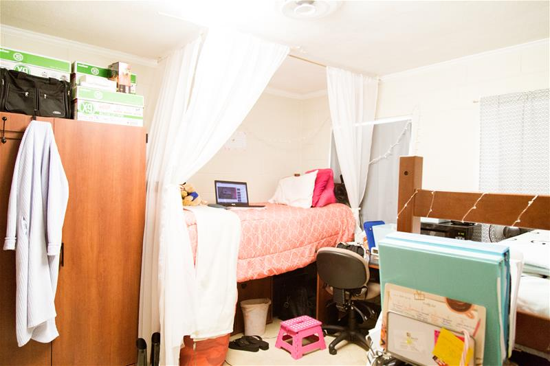 Left side view of the residential room in Garland Residence Hall