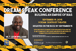 Dream Speak Conference Flyer for 2015 featuring Dr. T. Leon Williams