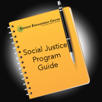 Social Just Program Guide written on a notebook with a pen