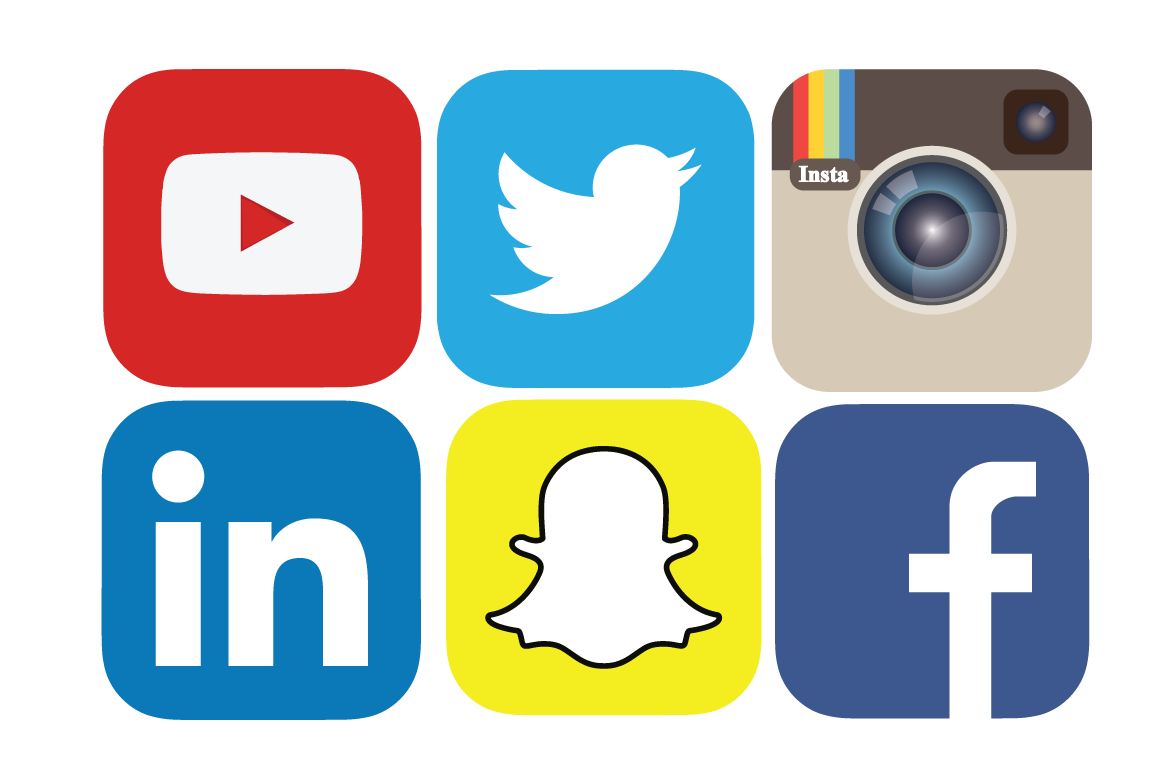 Icons for Youtube, Twitter, Instagram, LinkedIn, Snapchat, and Facebook